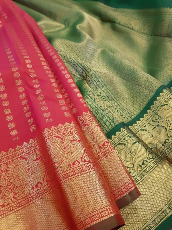 Arakku red kanchipuram silk saree with mayil chakram1