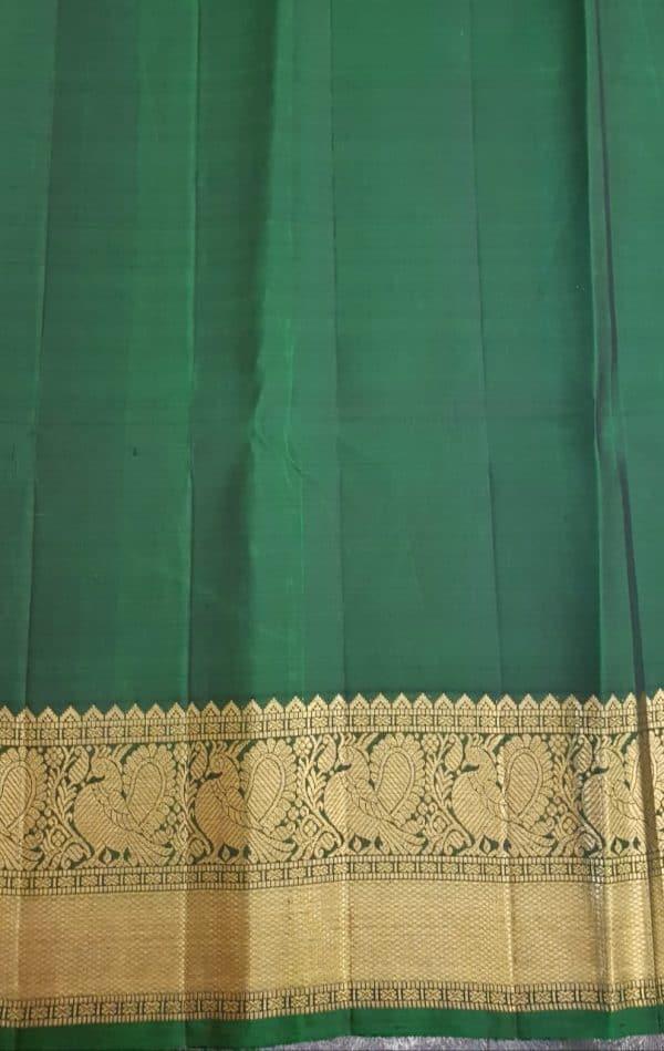 Arakku red kanchipuram silk saree with mayil chakram3