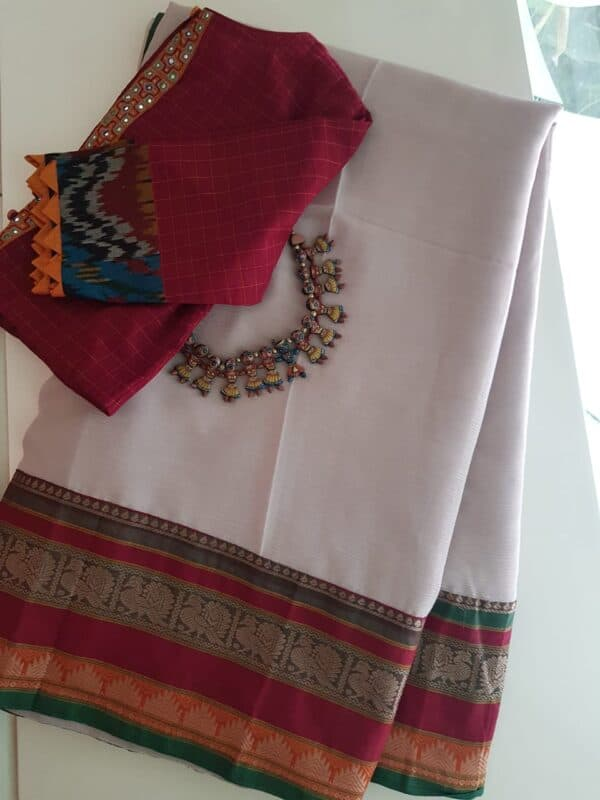Beige chiffon saree with red kanchi cotton border