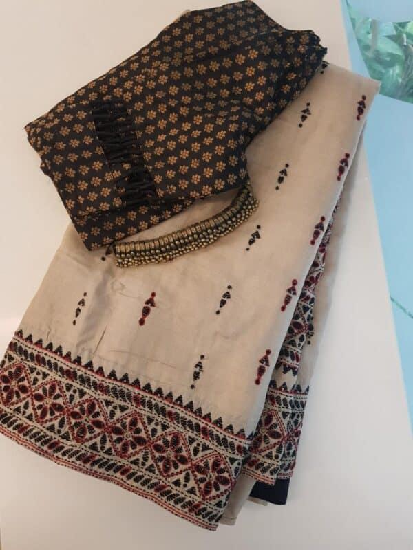 Beige kantha work saree