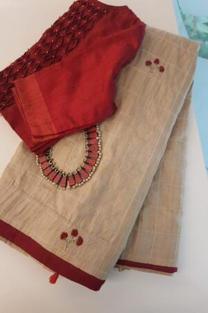 Beige tussar saree with embroidery