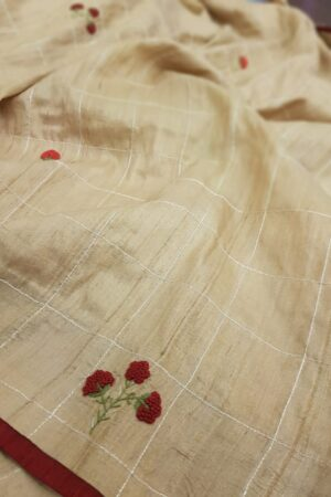 Beige tussar saree with embroidery1