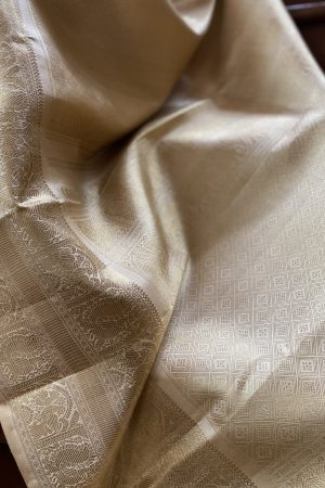 Beige with benaras lines kanchipuram silk saree2