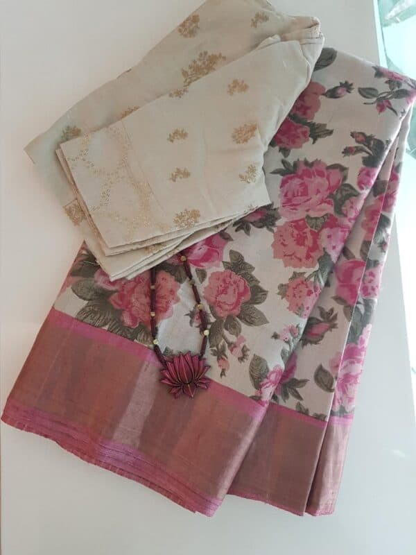 Beige with pink zari border tussar saree