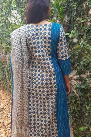 Blue ikat kurta with bagru kota dupatta1