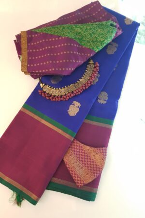 Blue kanchipuram silk saree with majenta border