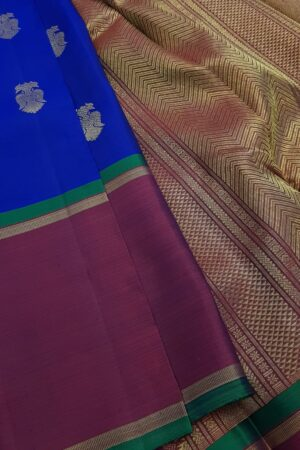 Blue kanchipuram silk saree with majenta border1