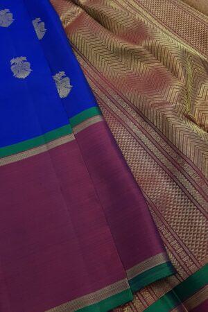 Blue kanchipuram silk saree with majenta border1