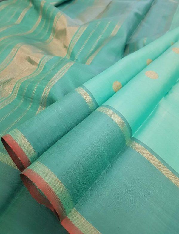 Blue kanchipuram silk saree with polka dots1