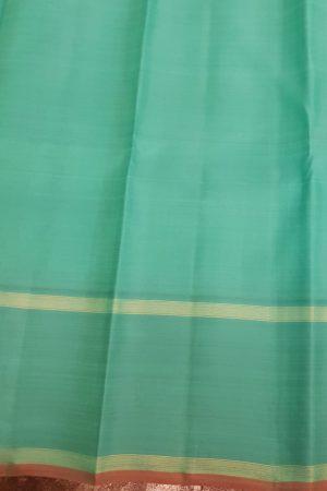 Blue kanchipuram silk saree with polka dots2