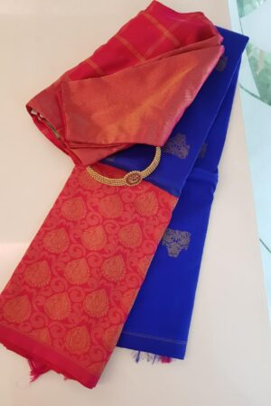 Blue with pink border kanchipuram silk saree