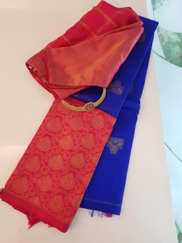 Blue with pink border kanchipuram silk saree