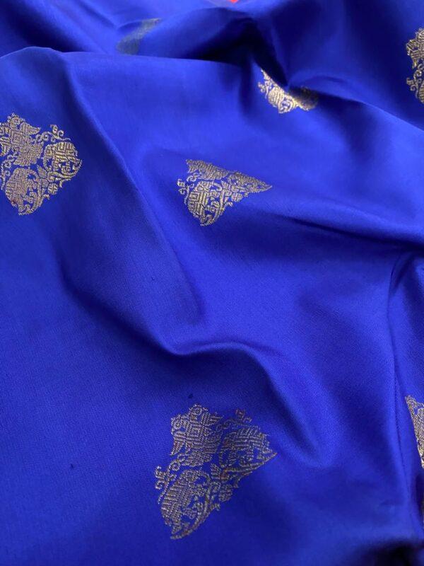 Blue with pink border kanchipuram silk saree1