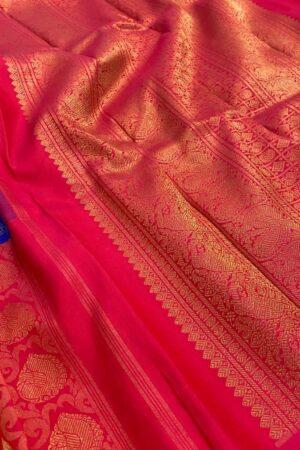 Blue with pink border kanchipuram silk saree3