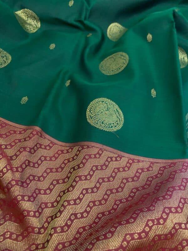 Bottle green and maroon one side border kanchipuram silk saree1
