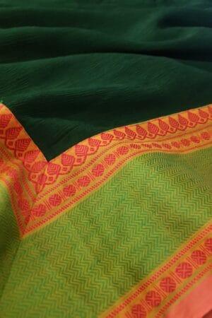 Bottle green chiffon saree with kanchi cotton border1