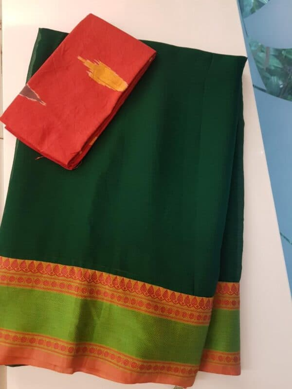 Bottle green chiffon saree with kanchi cotton border2
