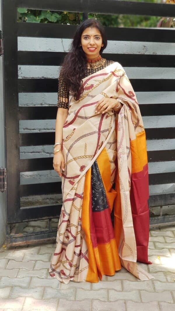 Box ikat with kalamkari on tussar saree