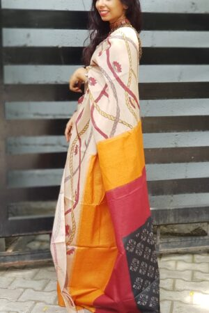 Box ikat with kalamkari on tussar saree1