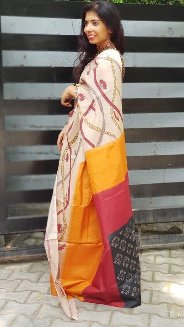 Box ikat with kalamkari on tussar saree1