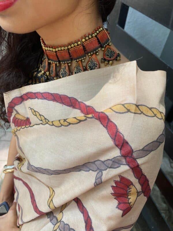 Box ikat with kalamkari on tussar saree2