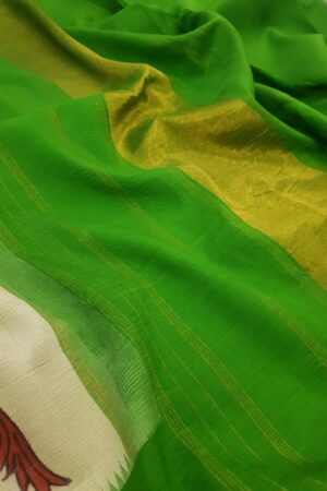 Cream with green zari temple border kanchipuram silk saree with kalamkari1