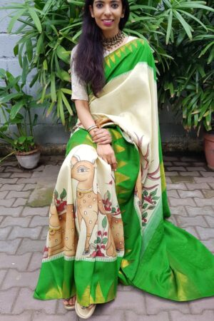 Cream with green zari temple border kanchipuram silk saree with kalamkari5