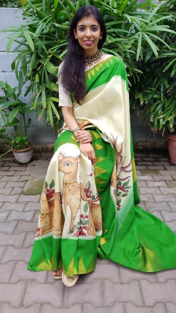 Cream with green zari temple border kanchipuram silk saree with kalamkari5