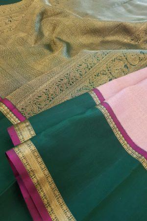 Dusty pink kanchipuram silk saree with green korvai border2