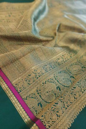 Dusty pink kanchipuram silk saree with green korvai border3
