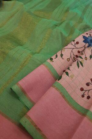 Dusty pink kanchipuram silk saree with kalamkari