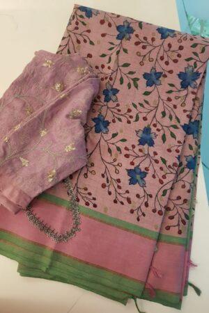Dusty pink kanchipuram silk saree with kalamkari1