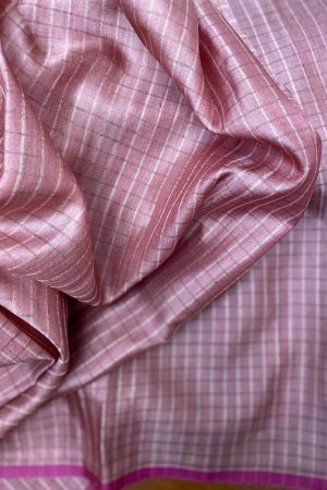 Dusty pink zari checked tussar