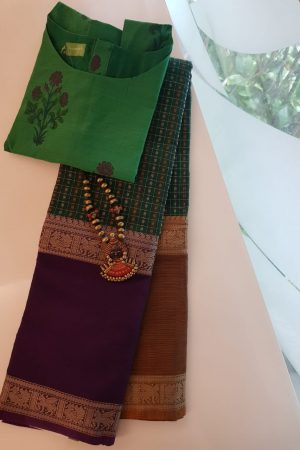 Green kanchi cotton saree with ganga jamuna border