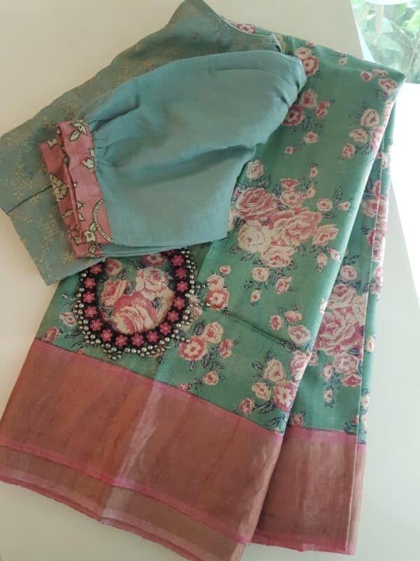 Green with pink zari border tussar saree