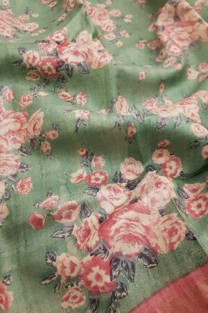 Green with pink zari border tussar sareeGreen with pink zari border tussar saree