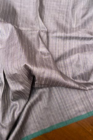 Greish beige zari checked tussar fabric