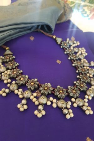 Grey and silver terracotta necklace