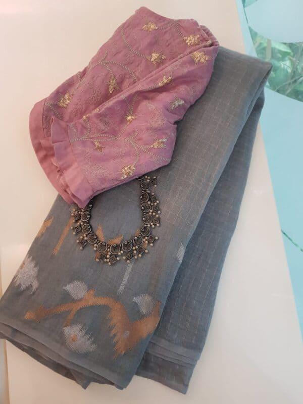 Grey linen saree with jamdhani border