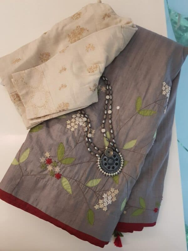 Grey tussar saree with embroidery