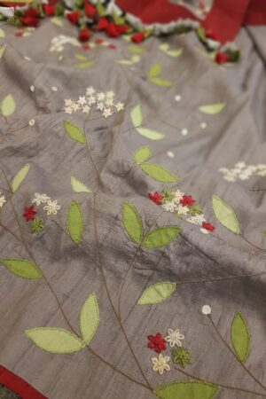 Grey tussar saree with embroidery2