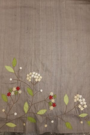 Grey tussar saree with embroidery3