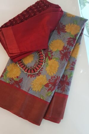 Grey with red zari border tussar saree