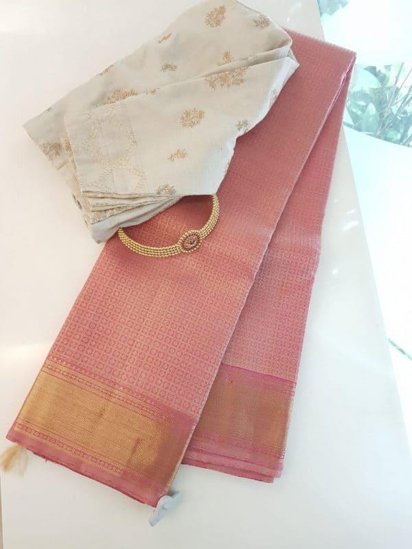 Light pink kanchipuram silk saree with brocade