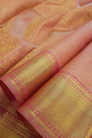 Light pink kanchipuram silk saree with brocade1