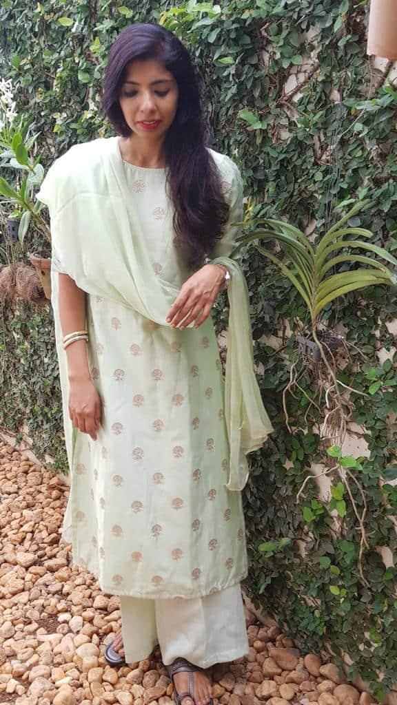 Mint green embroidered kurta