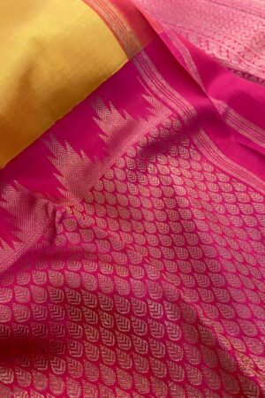Mustard and pink one side border kanchipuram silk saree1