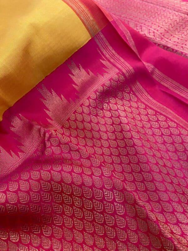 Mustard and pink one side border kanchipuram silk saree1