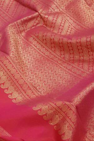 Mustard and pink one side border kanchipuram silk saree2