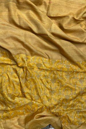 Mustard tussar saree with embroidered pallu